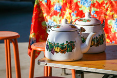 Lovely tea pots at Monday bazaar, Upal (inchiki tour) Tags: travel highway village market tea snapshot pot uighur xinjiang silkroad karakoram kkh  uyghur traveling bazaar centralasia  chai   chay  2015 karakoramhighway  upal
