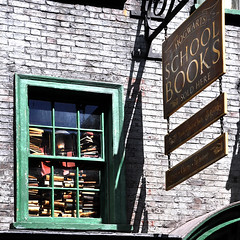 Books Sold Here (Seeing Visions) Tags: reflection brick window glass square us orlando unitedstates florida wroughtiron harrypotter books fl themepark stacked 2015 universalstudiosorlando diagonalley hangingsign raymondfujioka