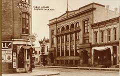 Public Library, Armory, Story's College, B&W Postcard
