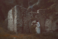 Ruin and lady 160-366 (a_Valentine) Tags: 365days alonelonely countryside dreaming forest garden girlwoman grassfield greenwoods greenworld nature naturephotography portrait ruins secretgarden solitude stones naturebeauty 365project avalentine rckenfigur 365daysproject valentinastocchetti door curiosity whitelady ivy