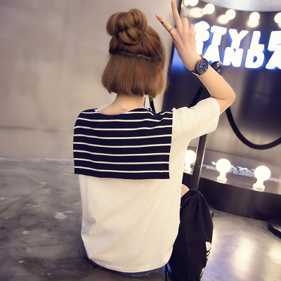 Summer styles dresses Korean loose t wild striped short sleeves t shirt short sleeve t shirt female students