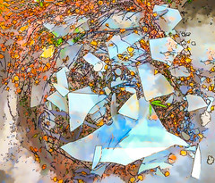 Leaves, Twigs and Broken Glass (Steve Taylor (Photography)) Tags: leaves twigs brokenglass sharp edges debris glass smashed sticks stone art digital blue black green white yellow orange broken newzealand nz southisland canterbury christchurch cbd city plant autumn