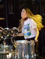 Danielle Drums (peterkelly) Tags: canada northamerica digital panasonic lumix zs50 festival music musician concert wayhomemusicartsfestival wayhome 2016 oromedonte daniellehaim haim hair light drumstick drum kit drumming drummer