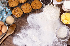 Baking cookies with ingredients (magickovenbakery) Tags: above background bake baking biscuits border butter cookies cooking coolingrack copy copyspace eggs flour food frame ingredients kitchen making milk photo preparing recipe space table top topview white wood worktop seoul southkorea kor