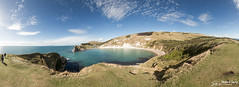 Lulworth Cove Panorama (stewartl2010) Tags: horizon path landscape bay beauty panorama clouds bluesky clifftop portland lulworthcove jurassiccoast stitched other dorset sea uk altocumulus westlulworth england unitedkingdom gb