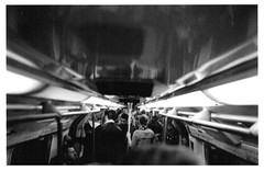 Tube (JamesAlexanderThorne) Tags: olympus trip 35 london england blackwhite ilford film underground light train