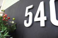 Semi-DIY House Numbers Sign (emily @ go haus go) Tags: housenumbers schoolhouseelectric frontdoor frontporch hangingstuffonbrick magnetichousenumbers metalsign signdiy