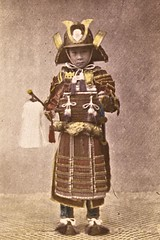 Japanese boy wearing ancient warrior armour ca1870 (SSAVE w/ over 6.5 MILLION views THX) Tags: japan japanese customs costumes culture 1870 boy samuraicostume