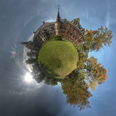Mrchenschloss (Sven Grard (lichtkunstfoto.de)) Tags: panorama pano sphere kugel urbex lostplace abandoned decay derelict palace schloss fairytail light sun clouds herbst autum baum bume tree trees verlassen vergessen verfall