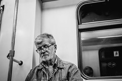 (red line highway) Tags: man black white blackandwhite monochrome 35mm nikon photography social documentary street city russia summer face people portrait sleep nap metro moscow