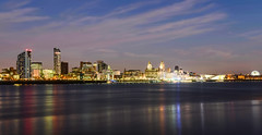 Liverpool skyline (paul hitchmough photography) Tags: citylights uk paulhitchmoughphotography nikond800 nightphotography longexposure colours rivermersey waterfront liverpool skyscraper skyline liverpoolskyline