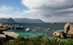 Clear Waters (dorian.sheridan) Tags: africa beach clear white sand weather clouds mountians distance rocks boulders capetown southafrica