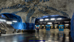 Stockholm, Sweden: T-Centralen Station access, Lines T-10 & T-11 colored shot-crete for water-proofing (Blue) (nabobswims) Tags: hdr highdynamicrange lightroom linet10 linet11 metro nabob nabobswims photomatix se sl sonya6000 stockholm subway sweden tbana tunnelbana ubahn stockholmin
