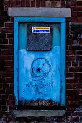 white teeth blue skull (PDKImages) Tags: kelham sheffield sheffieldstreetart sheffieldart abandoned broken urban lost contrasts skull yorkshire desolate windows