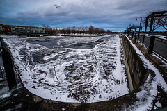 Icy emptyness (Phg Voyager) Tags: photography phgvoyager montreal quebec canada arbour warf sea river color ice outdoor street urban old emprty dark snow outside landscape cityscape leica m9 18mm bird stlaurent vieuxport winter