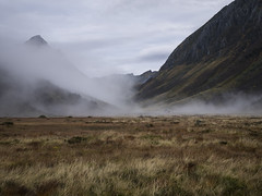 Amidst November Mist (Lars rstavik) Tags: valladalen mosdalen svarterabben mtgopnehornet rsta sunnmre norway moor outdoor landscape mist chalet misty cloudy sky mountain valley november highland