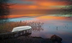 Waiting for for the winter. (augustynbatko) Tags: lake autumn nature water landscape sky clouds outdoor boat rushes