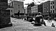 watching the world go by (garylestrangephotography) Tags: street blackandwhite woman white man black building male church saint shop retail architecture female shopping grey phone sony main streetphotography peter z3 drogheda xperia garylestrangephotography