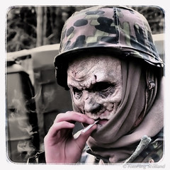 Zombie Fag Break (FotoFling Scotland) Tags: film zombie location actor blacksun outpost instagram