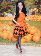Witchy Woman - Snowprincess Barbie (The doll keeper) Tags: orange black halloween hair outfit shoes dress ooak best bow snowprincess superstarface superstarbarbie