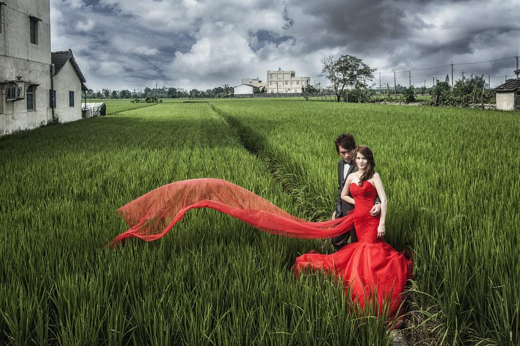 稻田婚紗,飄紗,紅色魚尾禮服