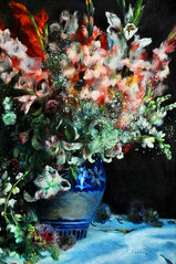 Pierre-Auguste Renoir Gladioli in a Vase about 1874-5 (cogozalez1) Tags: flowers flores london museum painting artwork arte picture nationalgallery canvas londres museo francia painters pintura renoir avantgarde gladioli vanguardia oleo oiloncanvas 1875 decoración lienzo 1874 gladiolos sxix obradearte oleosobrelienzo