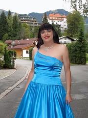 Ball gown (Paula Satijn) Tags: blue sexy girl smile lady outside happy austria shiny dress silk skirt tgirl transvestite chic gown satin gurl classy elegance ballgown kitzbhel