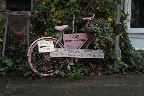 Pink bike.
