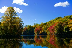 Reflective colors at the Pond! (ineedathis, Keep on Ticking!) Tags: morning blue autumn trees sky newyork fall nature water colors clouds reflections pond huntington longisland coldspringharbor nikond750