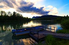Jokkmokk Lake (mariotti.francois) Tags: cloud tree boat cloudy sake reflexion