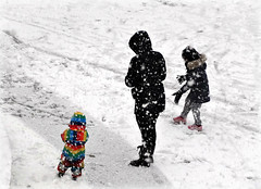 First snow (Jaedde & Sis) Tags: winter three behind storybookwinner