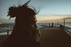 Rising Water (Louis Dazy) Tags: ocean sunset sea portrait beach sunrise pier wind grain melbourne dreads mentone