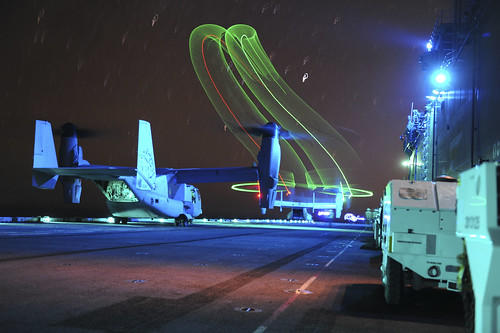 An MV-22 Osprey launches from USS Boxer.