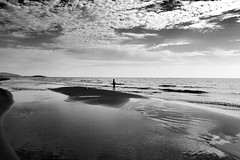 Black and white beach scene (VillaRhapsody) Tags: autumn sea seascape beach water beautiful weather clouds reflections landscape scenery mediterranean gorgeous tide patara cy2 challengeyouwinner karadere cyunanimous