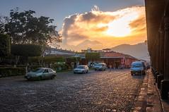 Vulcano sunset (danielacon15) Tags: antigua colonial guatemala spanish travel urban worldheritage outdoors tourism traveldestination vulcano el fuego sunset parque central park acatenango volcano street
