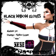 BLASPHEMIC - BLACK WIDOW GLOVES - RED (BLASPHEMIC) Tags: blasphemic gloves applier omega hunt huntgift