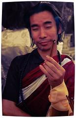 Buddhist with inscrutable attitude holding incense offering on Bodhisattva Day, Sakya Lamdre Hevajra empowerment Tharlam Monastery Boudha Kathmandu Nepal (Wonderlane) Tags: nepal lamdre boudha tibetan tibetanbuddhist religious religion spiritual buddhists practice empowerment buddhism enlightenment path result buddhist kathmandu tradition initiation blessing traditional sakya inscrutable attitude 3415 adi person humanbeing people with holding incense offering bodhisattva day