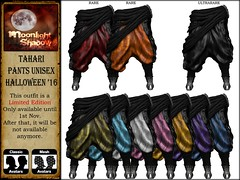 LIMITED EDITION: Tahari Pants & Boots UNISEX - Halloween'16 GACHA (moonshagoreanstore) Tags: tahari pant pants unisex male female halloween red oreange black color rigged mesh sl second life gor gorean goreano goreana medieval fantasy fantasia arab arabian arabe silk avatar men man women woman girl boy guy sexy moon sha moonsha moonlight shadow clothes outfit fitted 3d standard green blue white pink yellow purple limited edition october autumn spooky scary