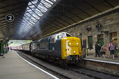 Deltic at Pickering (DM47744) Tags: class 55 55022 deltic napier train traction transport trains type track travel nymr north yorkshire moors railway preservation royal scots grey diesel d3100 locomotive heritage pickering station tracks transportation classic diesels loco british rail br