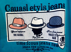 Cauasl Etyls Jeans (cowyeow) Tags: tshirt clothing apparel shop store shanghai cute engrish chinglish shopping funny asia asian wtf fail dumb stupid chinese china weird wrong silly strange funnychina time timefocus focus jeans hats blue casual style misspelled misspelling misspell
