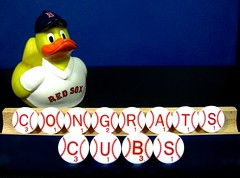 the red sox nation sends its congratulations to the chicago cubs  (muffett68 ) Tags: worldseries congratulations chicago cubs ducky redsox