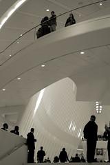 Oculus View from PATH Hall (II) (sjnnyny) Tags: path calatrava weekendvisitorstony sightsee commuters crowded atrium stevenj sjnnyny sonya6000 mitakonzhongyiturboii adaptedlens manualsettings street transportionandshopping observation levels manhattan bw urban