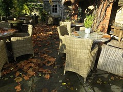5801 Autumn Patio (Andy - Busyyyyyyyyy) Tags: 20161110 autumncolour bhday13 broughholiday ccc chairs harome leaves lll ooo orange patio pergola ppp seats sss tables thepheasantinn ttt yorkshire
