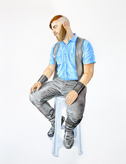 Leather thougths (alexpartalart) Tags: watercolor leather leatherfetish leathershirt leatherpants boots tallboots blue beard paper art alex partal alexpartal bluf cuero fetish sexy fetishleather gayfetish gay gayleather shirt leatherboots man male men