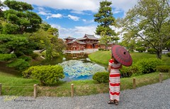 Byodoin portrait (Kostas Trovas) Tags: view path composition landscape asia nature reflection lines shrine trees clouds admiring pose byodoin garden hdr hdrfromoneraw japanese outdoors beautiful travel kyoto woman umbrella sky green buddhism temple japan traditional