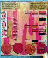 Pink and Gold (PreZen) Tags: artinmylife butterflies color pink bookpages circles 8x8 tymstoneart painting art