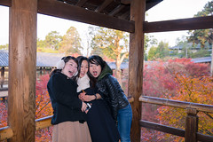 Three women playing together in Japanese fall foliage (Apricot Cafe) Tags: canonef2470mmf28liiusm img7781 asianethnicity japan japaneseethnicity autumn autumnleaves beautyinnature bridge change charming cheerful enjoying foliage freshness happiness hope japanesefallfoliage japanesemaple laughing leaves mapleleaf nature onlywomen outdoors people refreshing selectivefocus shouting smiling surprising temple threepeople tranquility traveldestinations walking woman youngadult