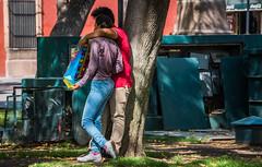 2016 - Mexico - San Luis Potosi - Close Encounter (Ted's photos - Returns late December) Tags: 2016 cropped mexico nikon nikond750 nikonfx sanluispotosi tedmcgrath tedsphotos tedsphotosmexico vignetting couple two bag heart hearts denim denimjeans people sneakers shoes sanluispotosiphotos