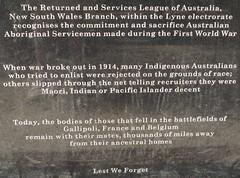 RSL remembers the sacrifice of Aboriginal Servicemen in WW1 (spelio) Tags: manning shire laurieton north mountain views travel nsw australia oct 2016 ww1 first world war memorial remote