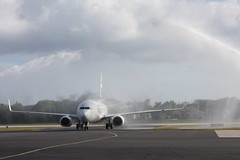 Water cannon salute (Don McDougall) Tags: donmcdougall caymanislands cayman caymanairways grandcayman owenrobertsinternationalairport oria cal aviation flight transport christening celebration airline